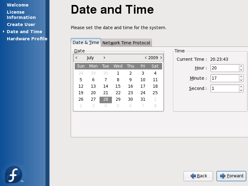 032 Fedora 11 Date And Time Configuration