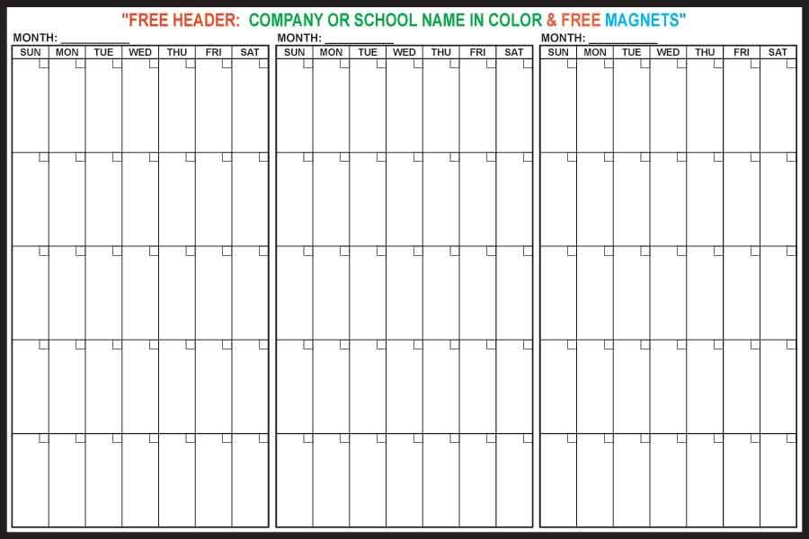 3 Month Magnetic Dry Erase Calendar
