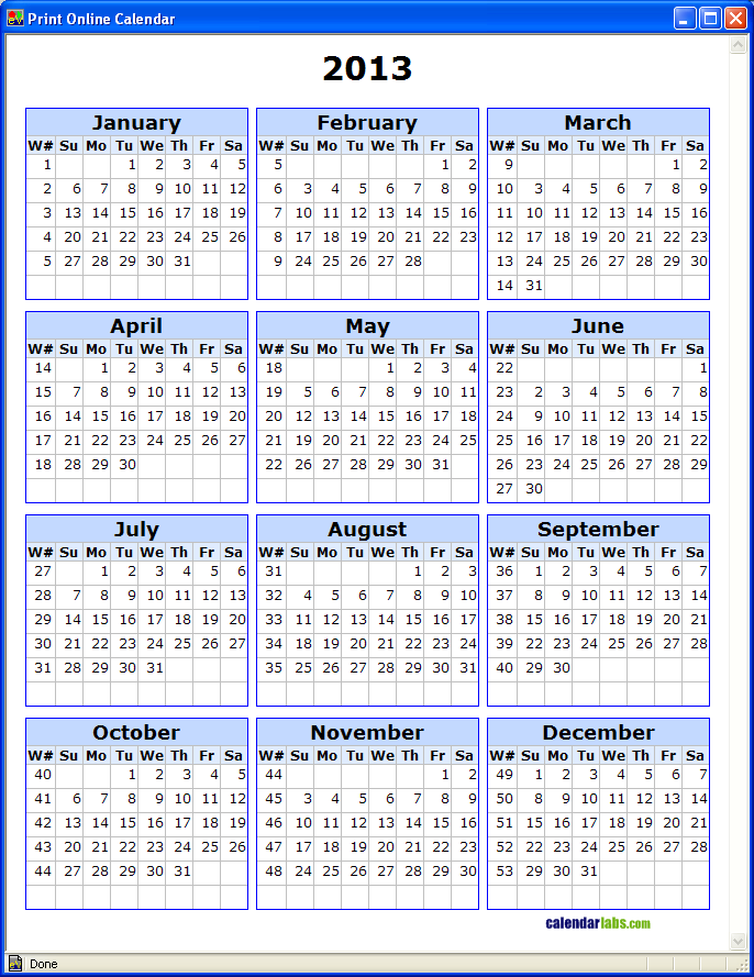 Calendar Numbered Weeks : Calendar by week number template