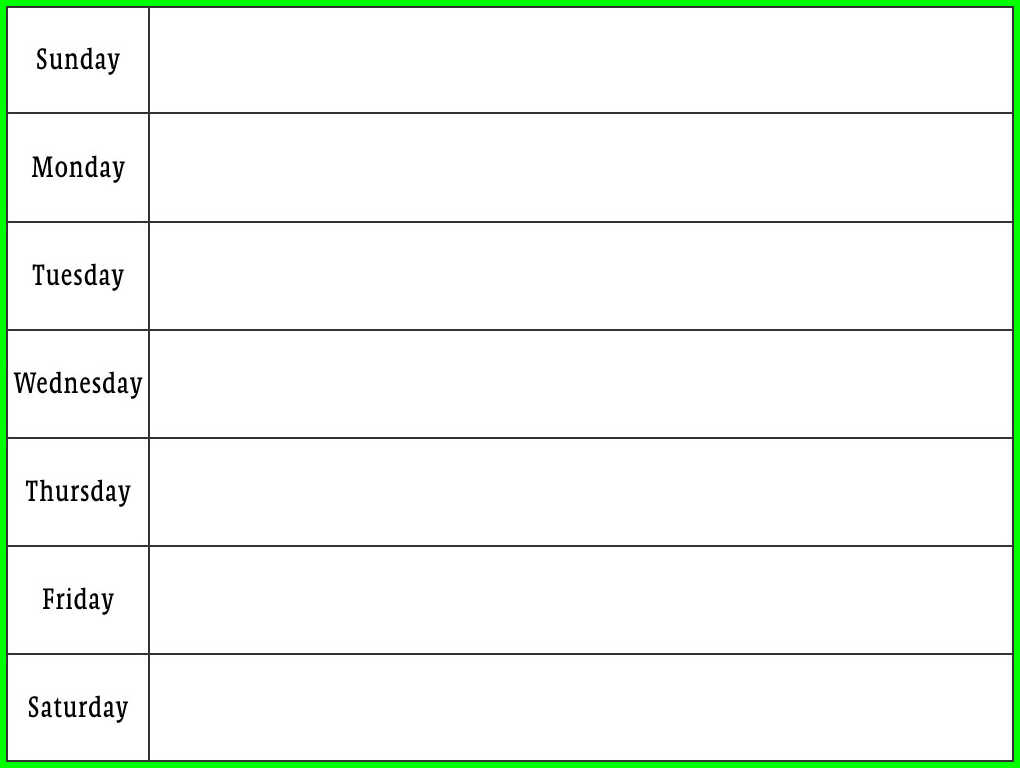 9 Week Day Schedule Template