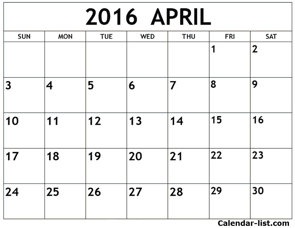 April 2016 Calendar With Moon Phases