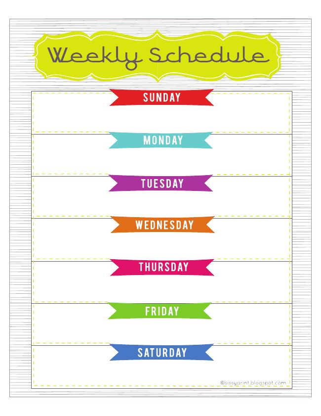 Best Photos Of Cute Printable Weekly Calendar Template