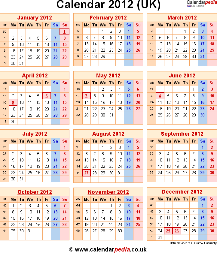 Calendar 2012 Uk With Bank Holidays And Week Numbers