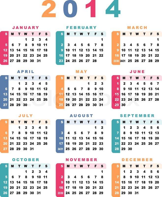 Calendar 2014 Week Starts With Sunday