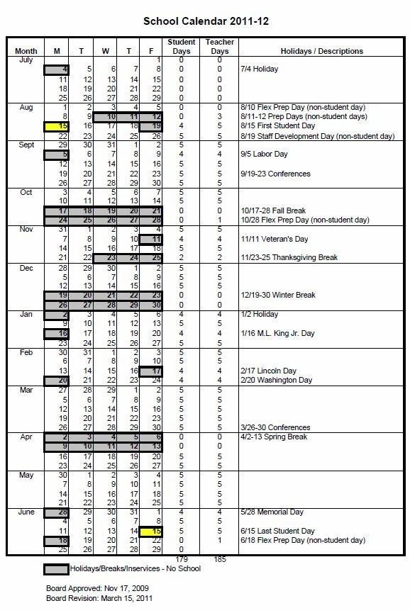 District Calendar Bell Schedule