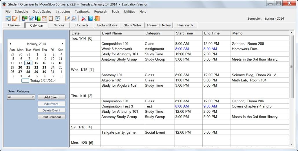 Enter Calendar Events In Student Organizer Software