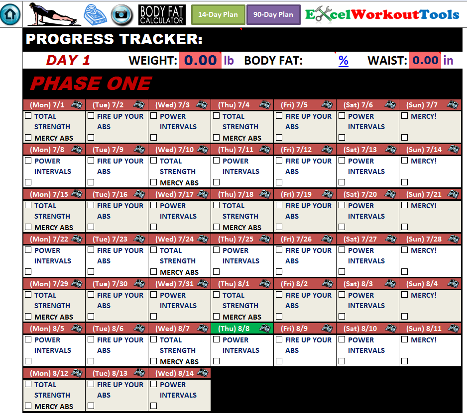 Excel Spreadsheet Workout Calendar & Exercise Tracker Tool For