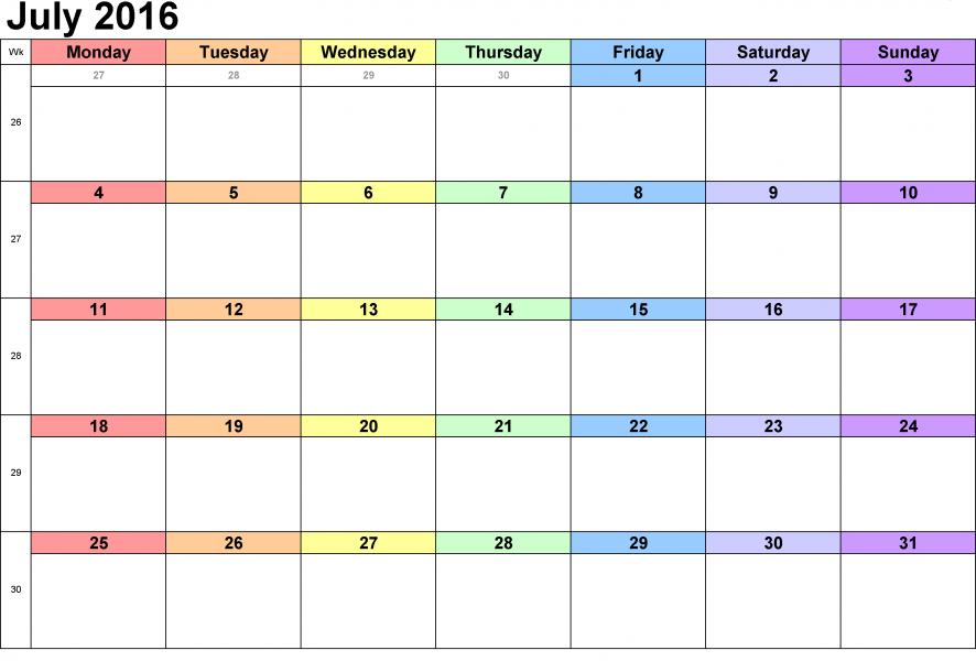 Free Weekly Printable Calendar 2016 Weekly Printable Calendar