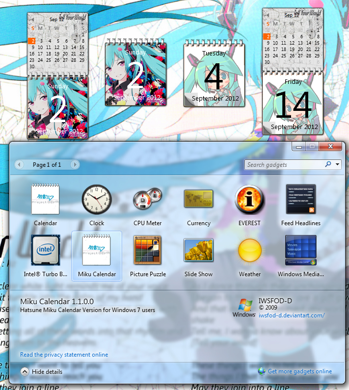 Hatsune Miku Calendar Gadget By Iwsfod
