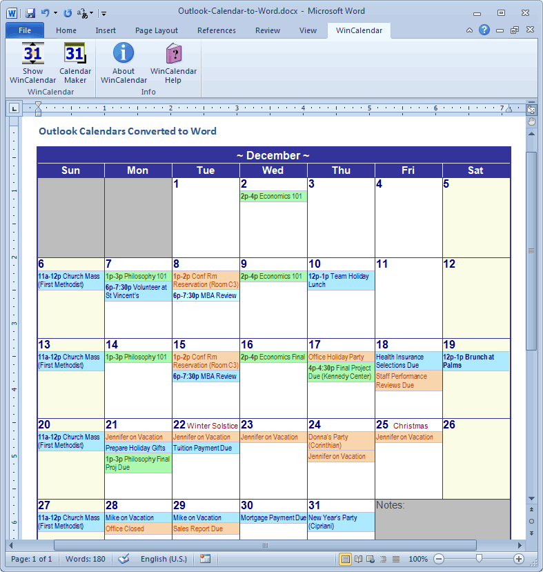 Import Outlook Calendar Into Excel And Word