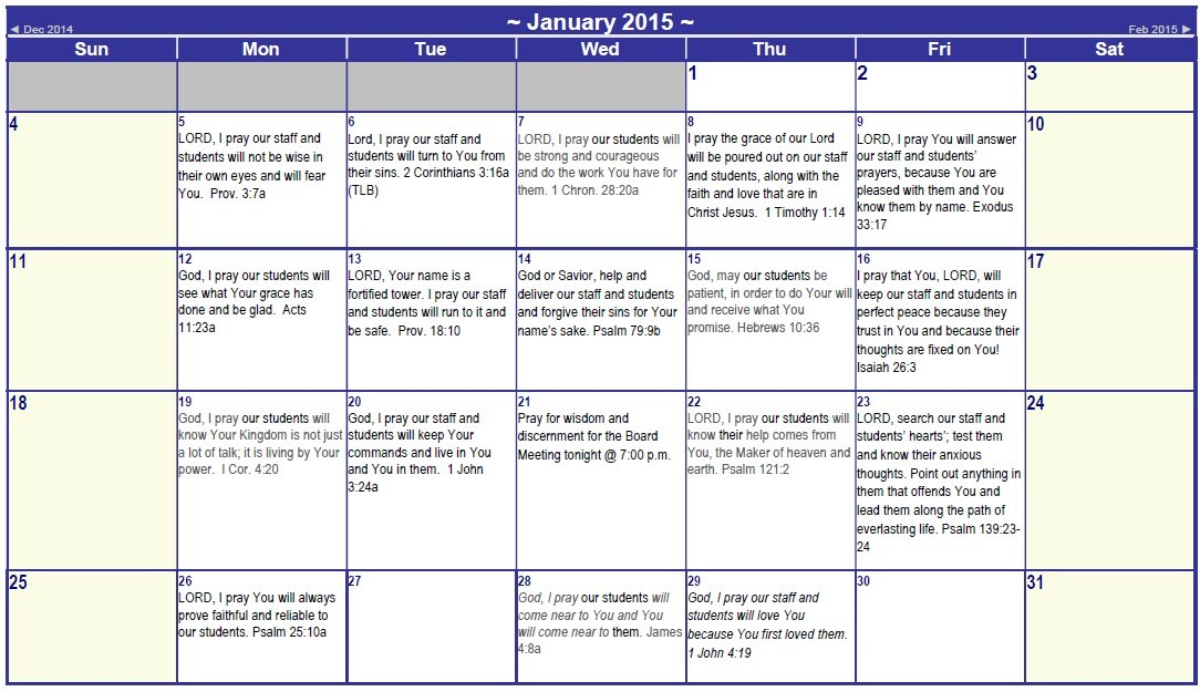 January 2016 Prayer Calendar