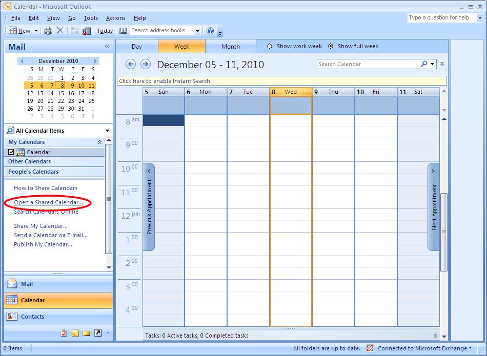Microsoft Outlook 2007  Connect To A Shared Calendar Folder