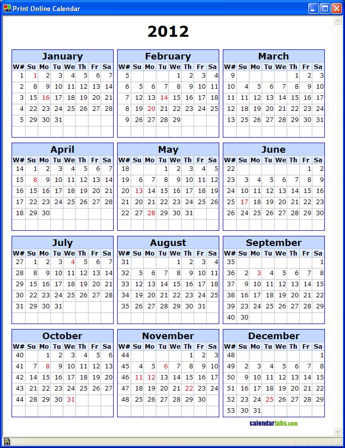 Calendar By Week Number » Calendar Template 2017