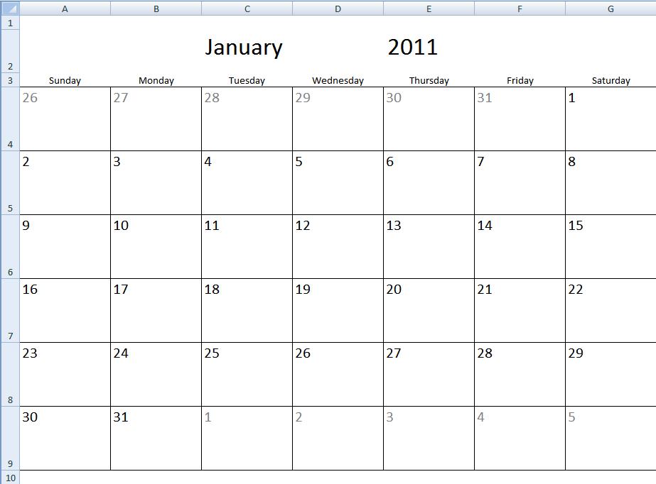 Monthly Calendar Template In Excel