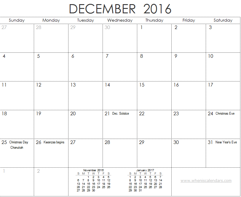 November December 2016 January 2017 Calendar 3 Month