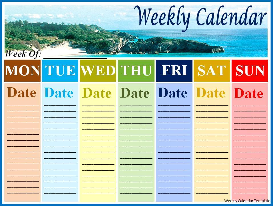 One Week Calendar Template   Helloalive