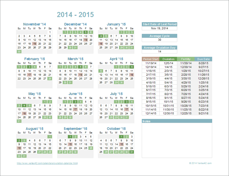 Ovulation Calendar Template For Excel