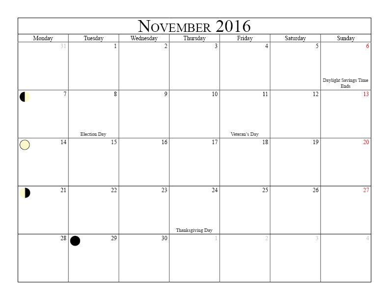 Printable Calendar November 2016 With Moon Phases