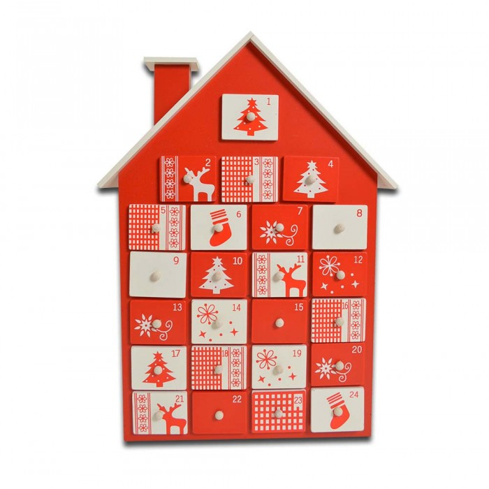 Red And White Wooden Fill Your Own Advent Calendar