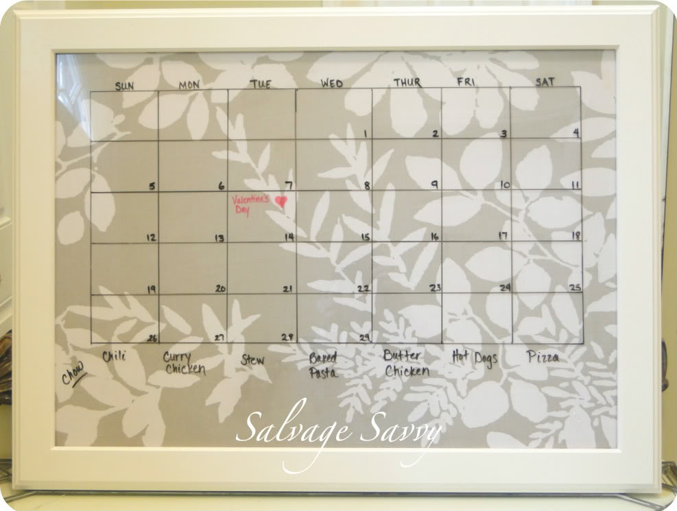Dry Erase Calendar Template : Framed dry erase calendar template