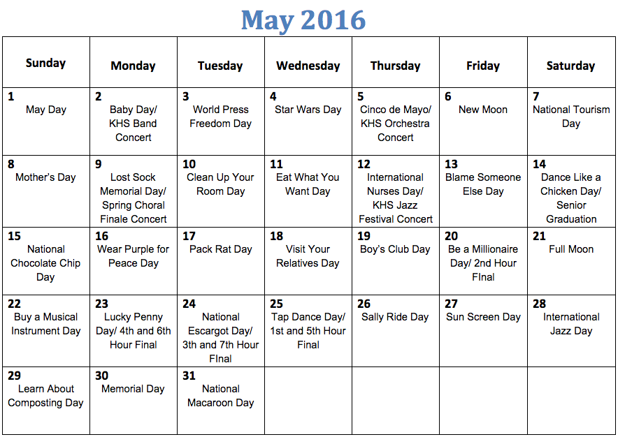 The Kirkwood Call   Fun National Holiday Calendar  May