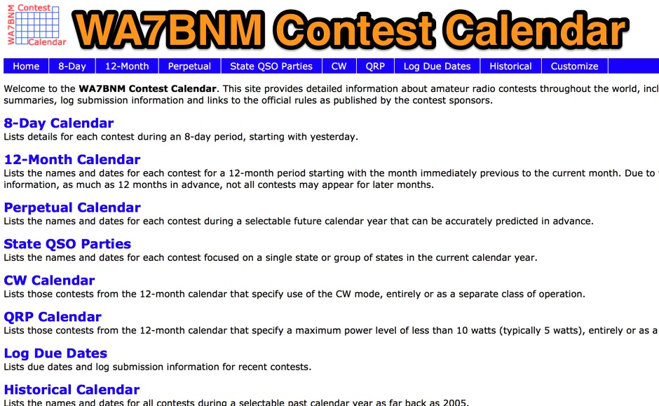 Wa7bnm Contest Calendar Resource Detail