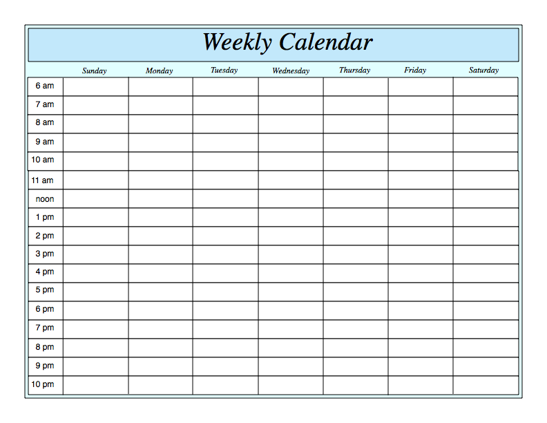 Weekly Calendar With Hours Printable