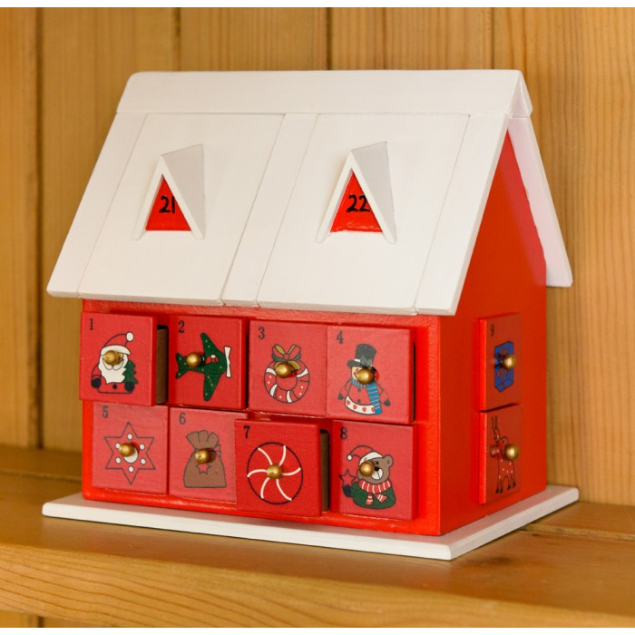 Wooden Wood House Advent Calendar Traditional Christmas Decoration