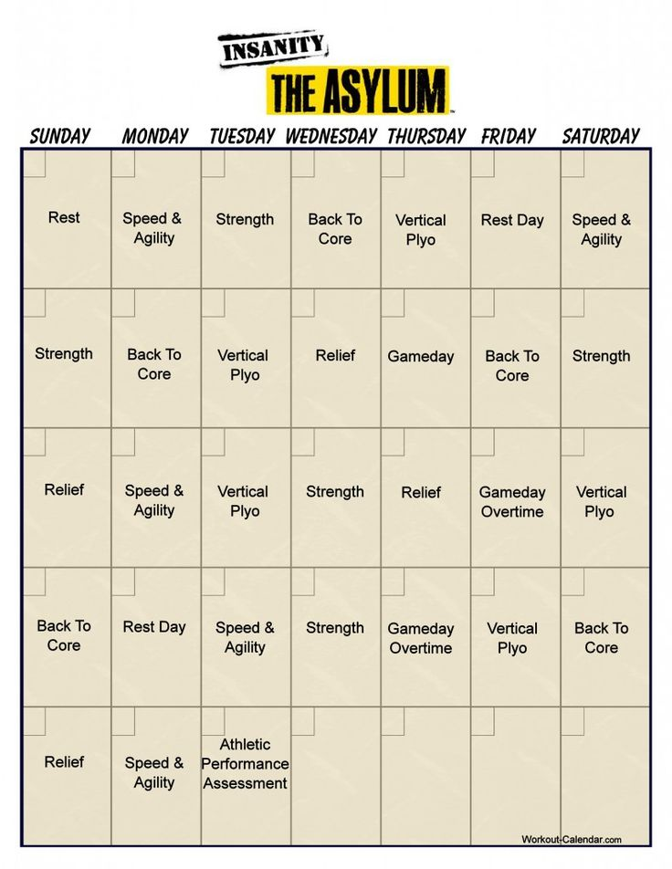 1000+ Ideas About Insanity Workout Calendar On Pinterest