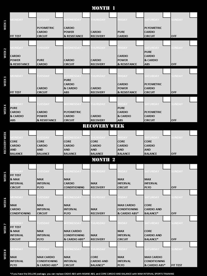 1000+ Ideas About Insanity Workout Schedule On Pinterest