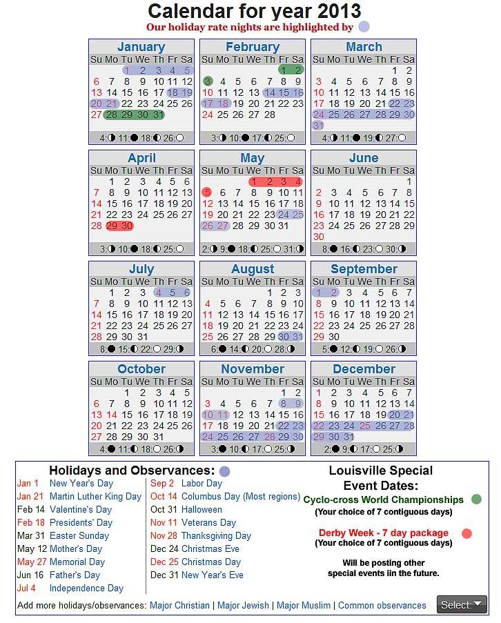2013 Calendar With All Holidays