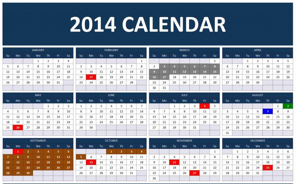 2014 Calendar Maximum