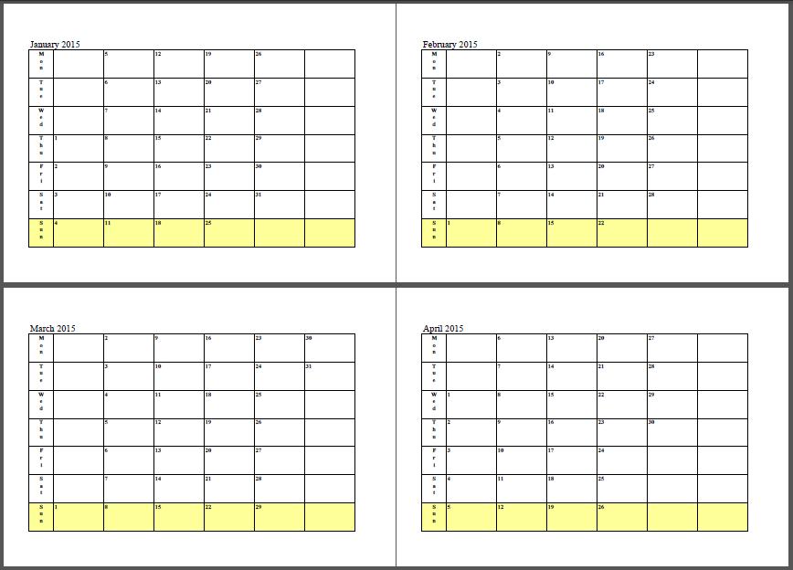 2015 Calendar January February March April