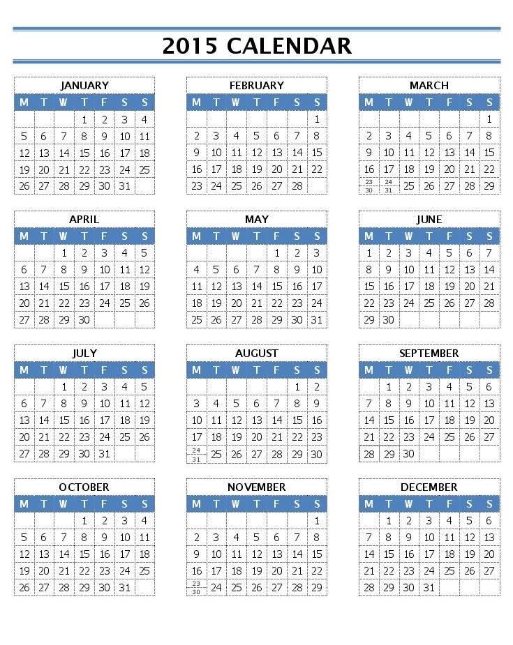 2015 Calendar Template Word