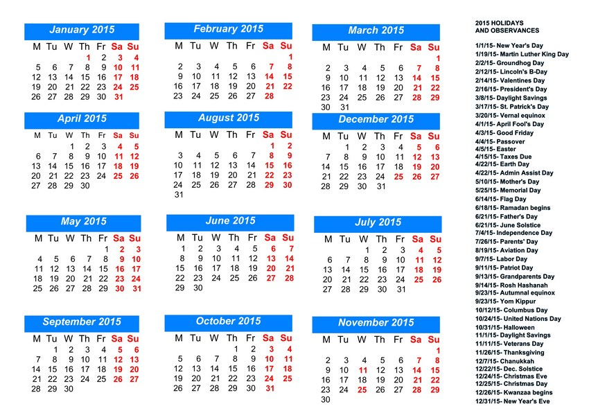 2015 Monthly Calendar With Holidays 2