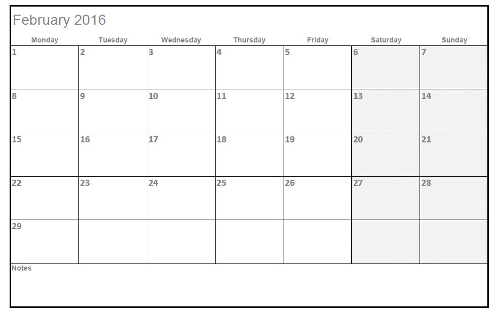 2016 Calendar Template Excel