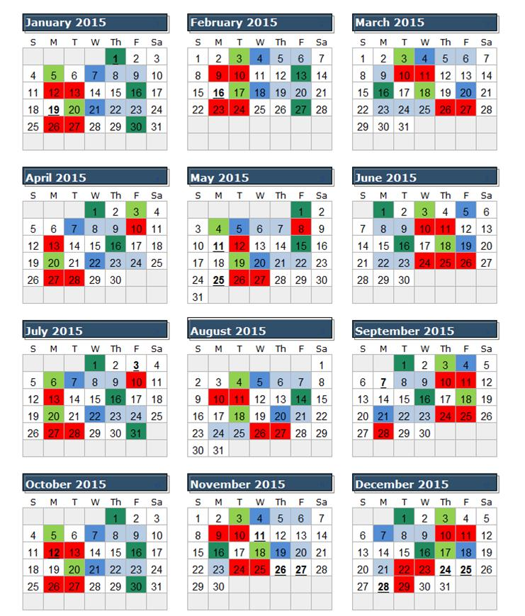 2016 Federal Calendar With Pay Periods