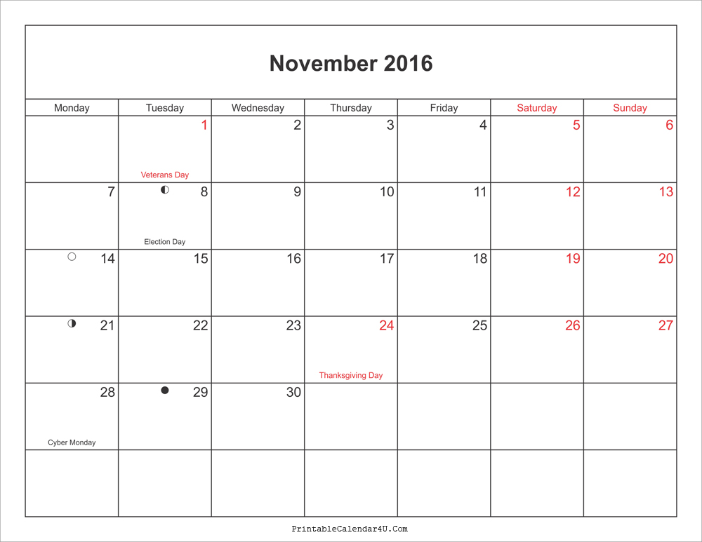 2016 November Calendar With Moonphases Pdf