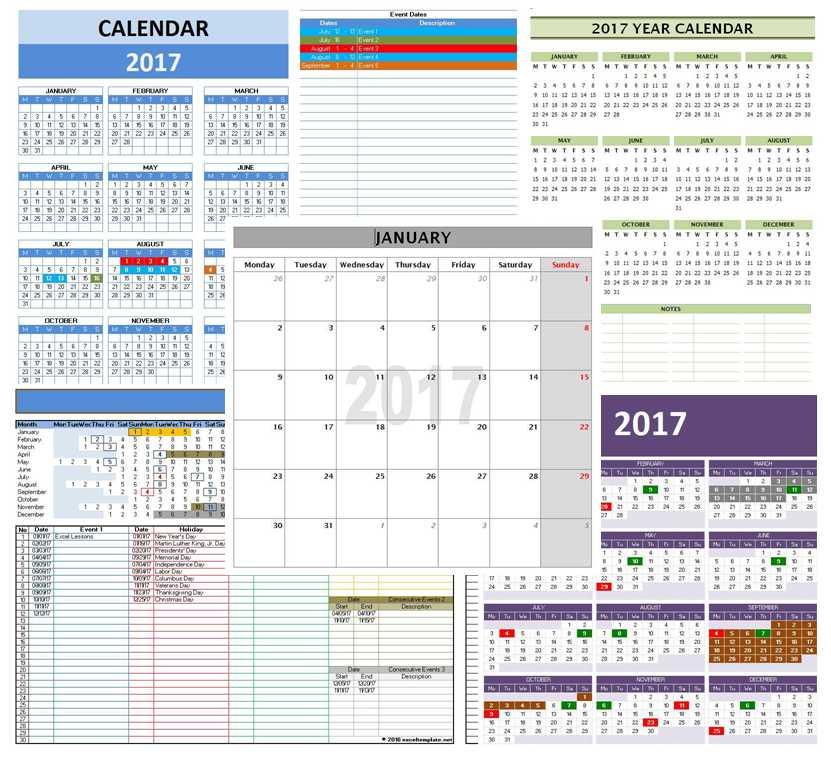Office Calendar 2017 : Open office calendar template