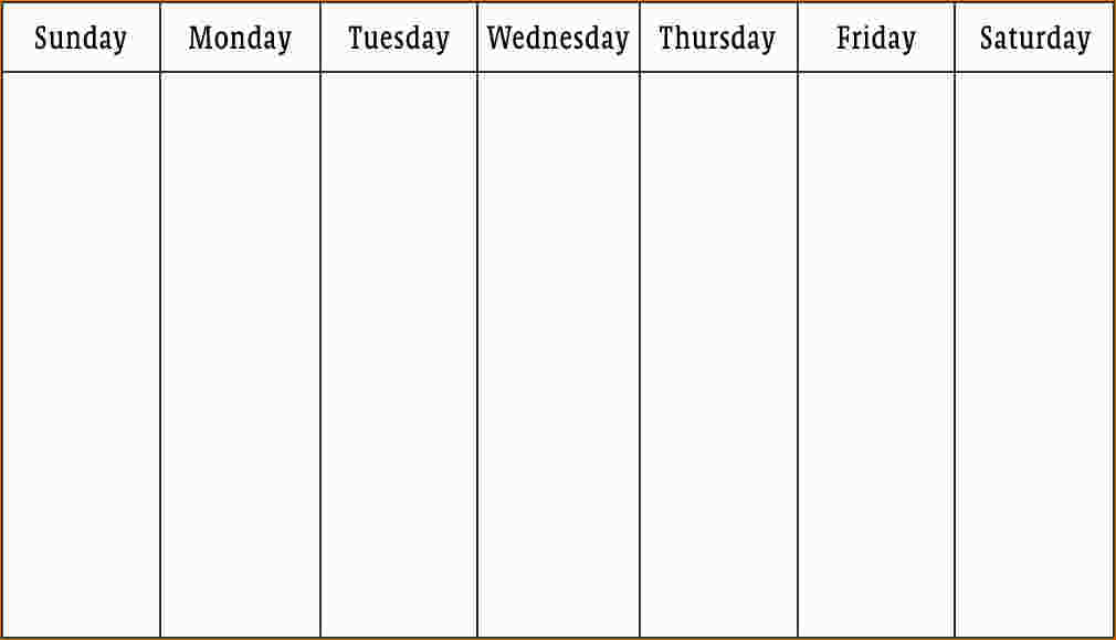 week calendar template