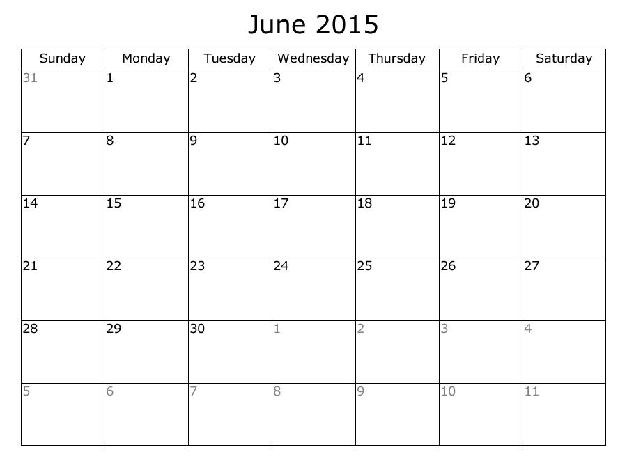 8 Best Images Of June Weekly 2015 Printable Calendar Sheets