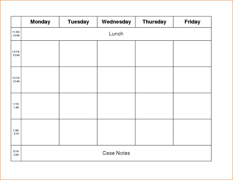 9+ Work Week Calendar Template
