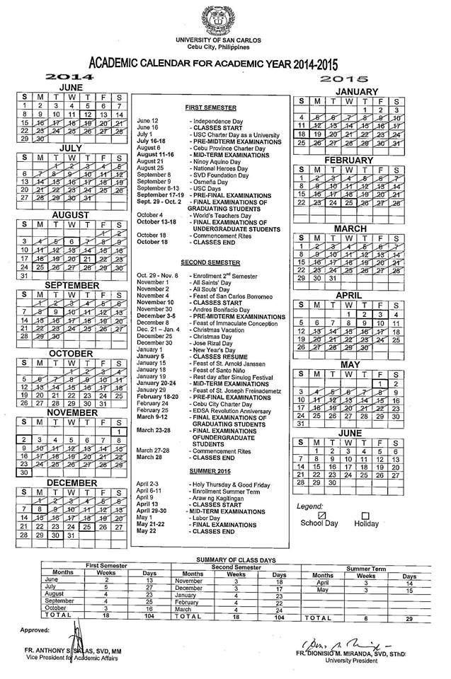 Academic Calendar For Ay 2014 – 2015