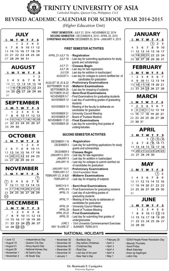 Academic Calendar S Y 2014