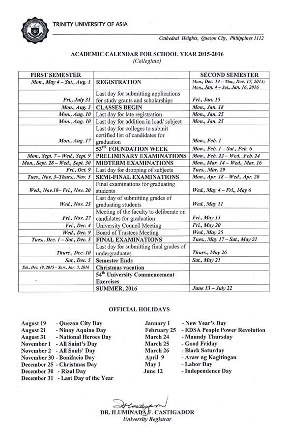 Academic Calendar S Y 2015
