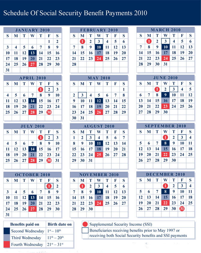 Benefit Payment Calendar