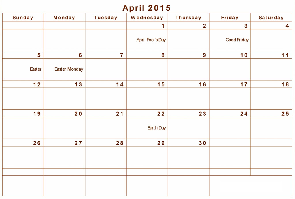 Best Photos Of April 2015 Calendar With Holidays Printable