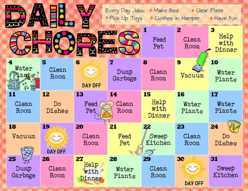 Bloggerific!  Chore Charts For Kids