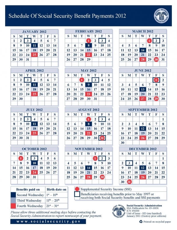 Calendar For Social Security Benefits