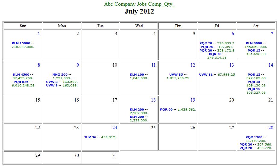 Calendar Report In Html Format